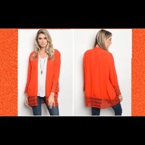 Sweaters - ⬇️Orange Mesh Lace Trim Light Cardigans